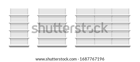 White empty store shelves. Flat Style. isolated on white background Сток-фото ©
