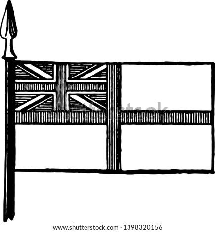 White Ensign, this white color flag has cross of vertical stripes,  and cross of vertical stripes superimposed on saltire in canton, vintage line drawing or engraving illustration