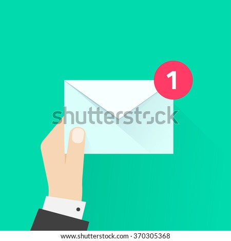 White envelope letter with counter notification, postman hand, concept of incoming email message, mail delivery service, newsletter announcement flat modern vector illustration design isolated