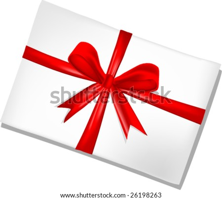 White envelope with red ribbon on white  background,