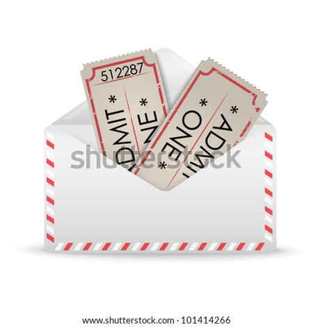 White envelope with two vintage tickets with number