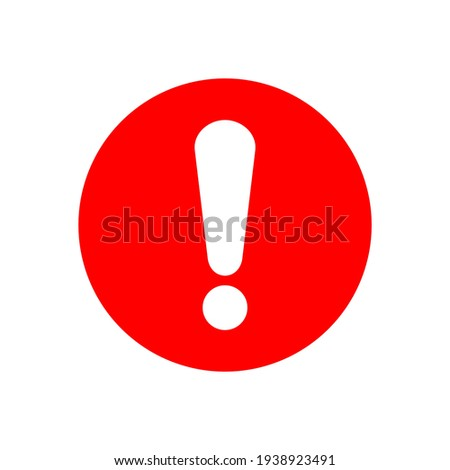 white exclamation mark sign on red circle isolated on white background. vector illustration Stock photo ©