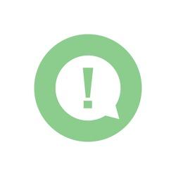 White exclamation mark vector icon. Green button. Green circle