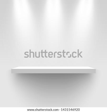 White exhibition stand, illuminated by spotlights. Pedestal. Rectangular shelf. Vector illustration.