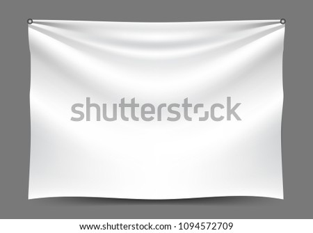White fabric hang on gray background vector illustration. Foto d'archivio ©