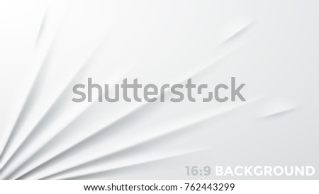 White fabric stretched to bottom left corner. Simple square background with ripple effect. Clean textile sheet with realistic texture. Vector illustration for backdrop, wallpaper, banner, flyer.