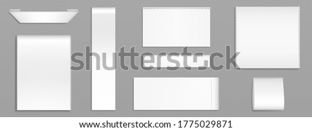 White fabric tags for textile isolated on transparent background. Vector realistic mockup of blank cloth labels with stitches, cotton ribbon badge different shapes, woven fashion sticker Stockfoto ©