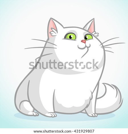 white fat cat with green eyes