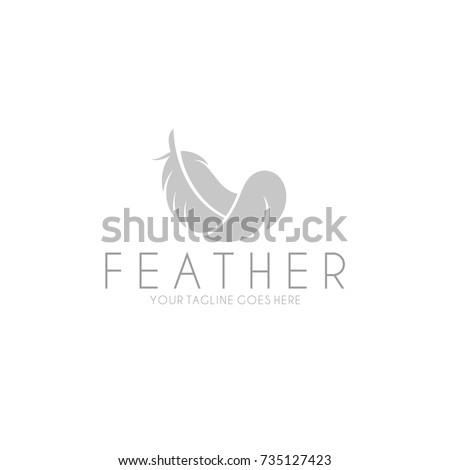 White feather. Logo. Isolated feather on white background