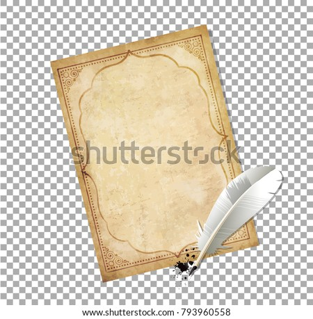 White feather pen with ink splatter and old papyrus with elegant curly ornamental frame isolated on transparent background. Vector illustration, border, clip art, template. Old fashioned letter.