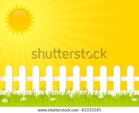white fence on a sunny summer