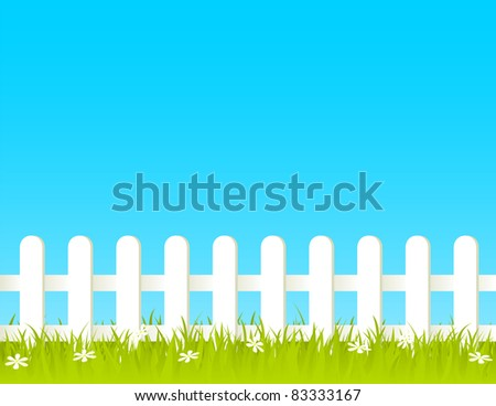 white fence with grass and