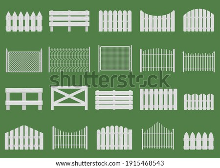 White fences. Wooden fences, garden or house wood fencing. Rural white fence isolated vector illustration set. Wooden fence farm, barrier garden, wood fencing Photo stock ©