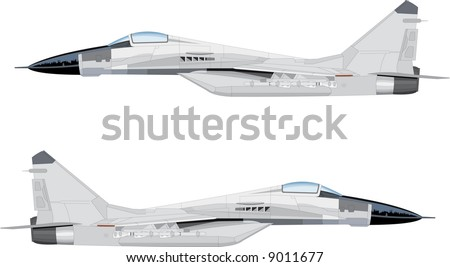 White fighter jet vector illustration in flight