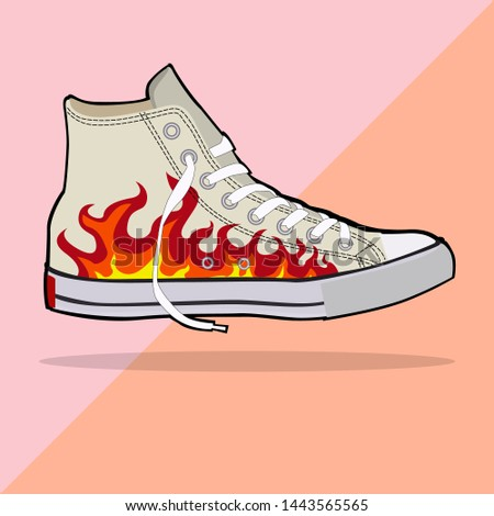 white fire sneakers. for sneakers lovers, it can be used as a wall display, poster and part of vector design. vector