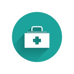 White First aid kit icon isolated with long shadow. Medical box with cross. Medical equipment for emergency. Healthcare concept. Green circle button. Vector Illustration