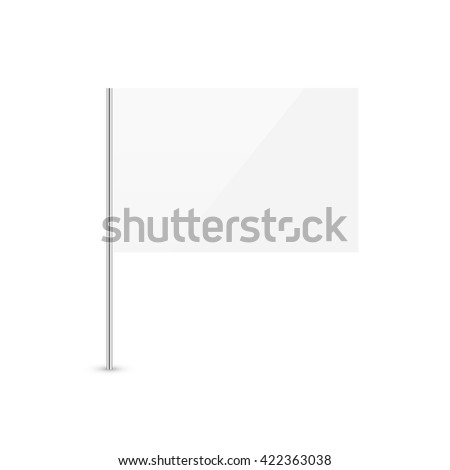 White flag isolated on white background. Blank empty surrender flag glossy icon. #422363038