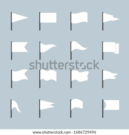 White flag of different forms icon set isolated on gray