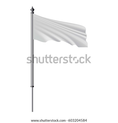 White flag on flagpole flying in the wind mockup. Realistic illustration of white flag on flagpole flying in the wind vector mockup for web #603204584