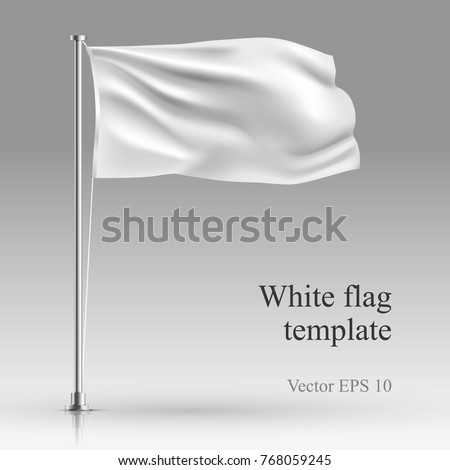 White flag stand on steel pole  template isolated on gray. Realistic vector illustration waving fabric in the wind on metal pillar.