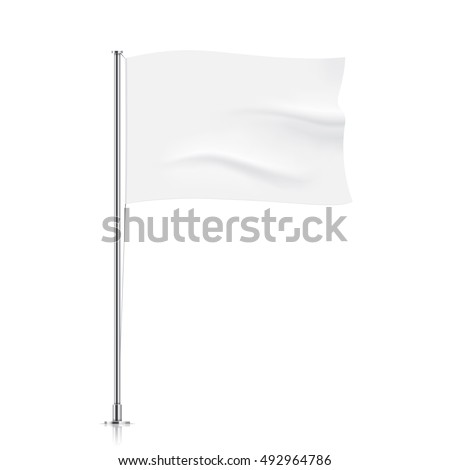 White flag template. Clean horizontal waving flag, isolated on background. Vector flag mockup. #492964786