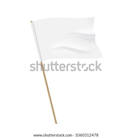 White flag with a wooden stick. Clean horizontal waving flag, isolated on background. Vector flag mockup. #1060312478