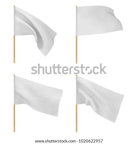 white flags set vector illustration