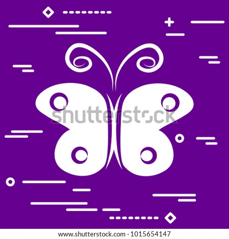 white flat butterfly vector