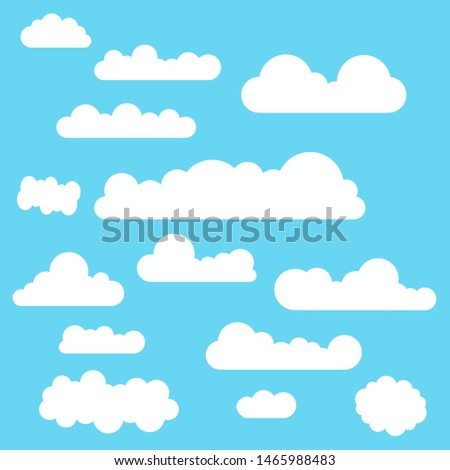 White flat clouds collection on the blue background. Vector collection.