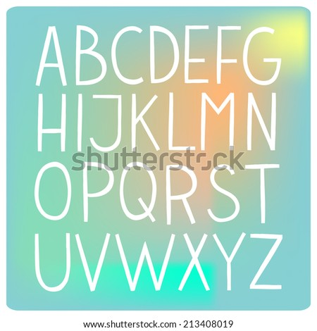 White flat hand drawn vector full alphabet. The vector Roman alphabet. For ui, web games, tablets, wallpapers, and patterns.
