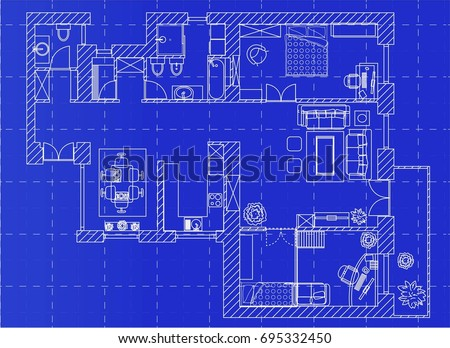 white floor plan sketch of a
