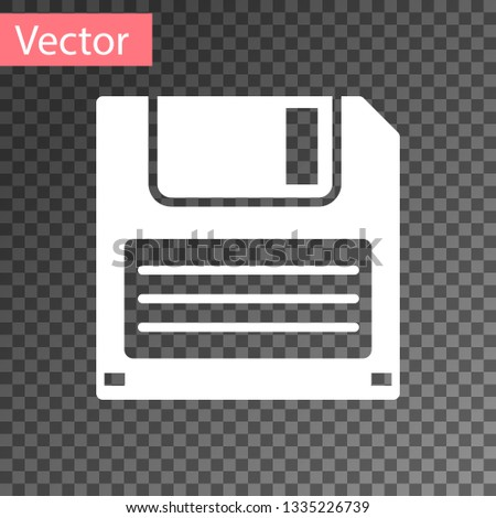 White Floppy disk for computer data storage icon isolated on transparent background. Diskette sign. Vector Illustration