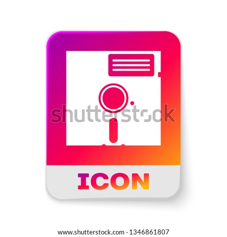 White Floppy disk in the 5.25-inch icon isolated on white background. Floppy disk for computer data storage. Diskette sign. Rectangle color button. Vector Illustration