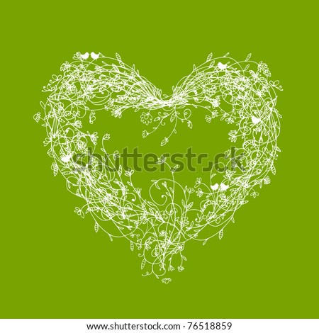 white floral frame  heart shape
