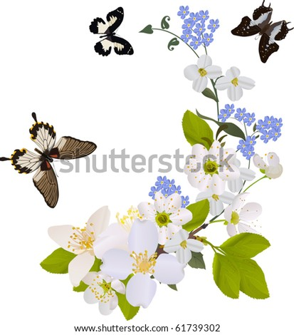 white flower branches with three big butterflies - stock vector
