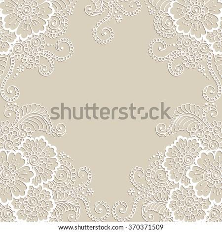 white flower frame  lace