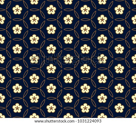 White flower medallion on a navy blue. Simple geometric allover ornament. Tiny floral moroccan trellis seamless vector design. Vintage folk print for wear fabric, apparel textile, garment, phone case.