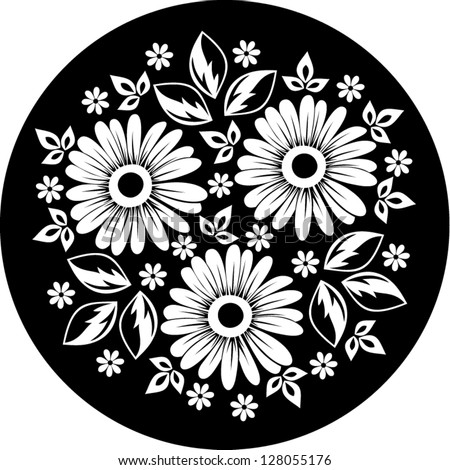 White Flower Ornament On A Black Background Vector
