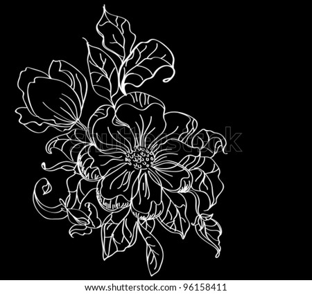 white flower over dark, beautiful vector illustration