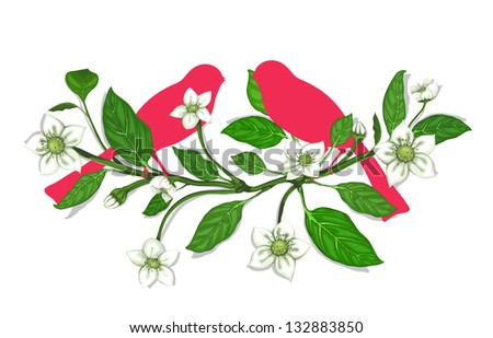 White Flowers and Pink Birds on Twig Composition. Blooming sprigs and birds composition. Vector EPS8. No effects.