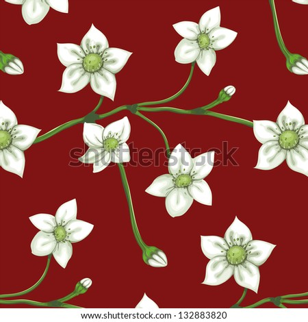 White Flowers on Twig Seamless Pattern. Blooming sprigs seamless background. Vector EPS8. No effects.
