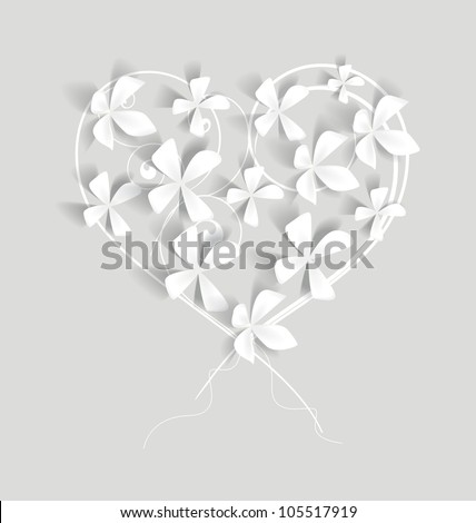 white flowers studded with heart-shaped - stock vector
