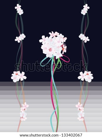 white flowers with colorful ribbons  on the blue background