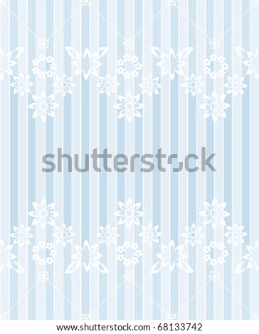 White flowery lace blue striped card