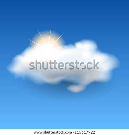 White fluffy cloud and sun in a blue sky, eps10 vector