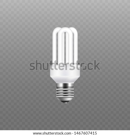 White fluorescent stick light bulb isolated on transparent background. Eco-friendly and electricity conservation screw lightbulb with three rounded tubes, realistic vector illustration