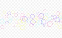 White Foam Effect Transparent Background. Realistic Soapy Ball Card. Rainbow Air 3d Circle Postcard.