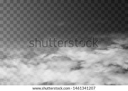White fog texture isolated on transparent background. Steam special effect. Realistic vector fire smoke or mist