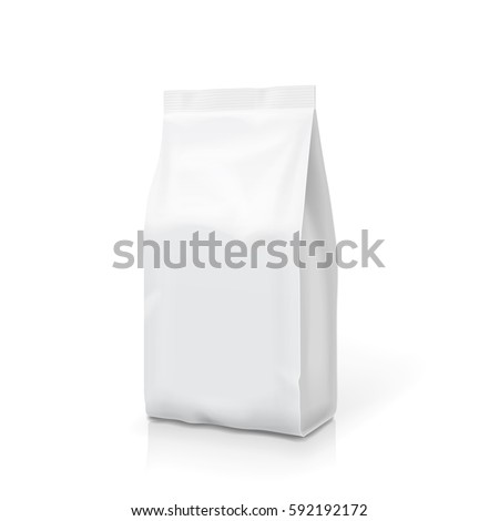 White foil or paper food stand up snack bag clipping path. Blank sachet packaging illustration. Vector isolated template