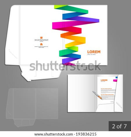 White folder template design for company with color stripes. Element of stationery.